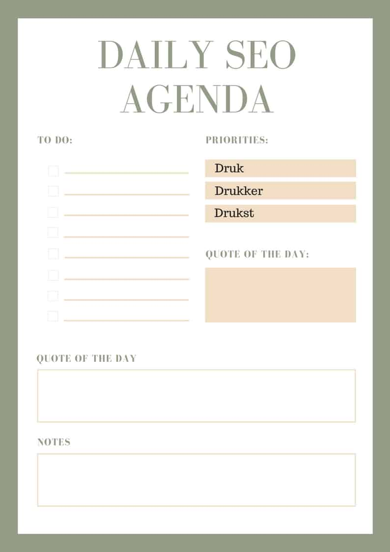SEO specialist agenda