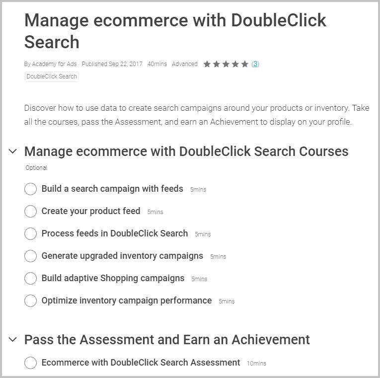 overzicht academy commerce met doubleclick search
