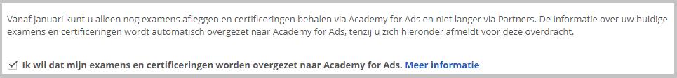 Optie om overzetten naar Academy For Ads uit te zetten