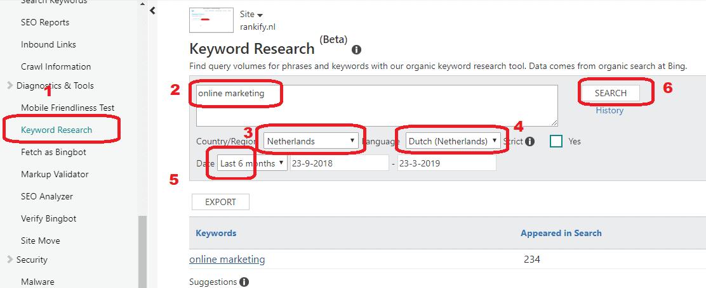 bing webmaster zoekwoorden vinden