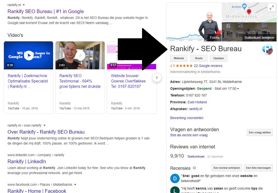 overzicht google mijn bedrijf