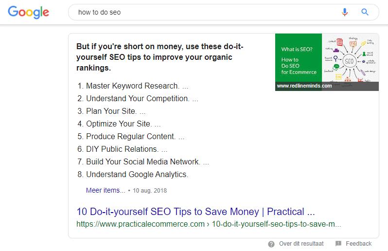 voorbeeld van een featured snippet lijst