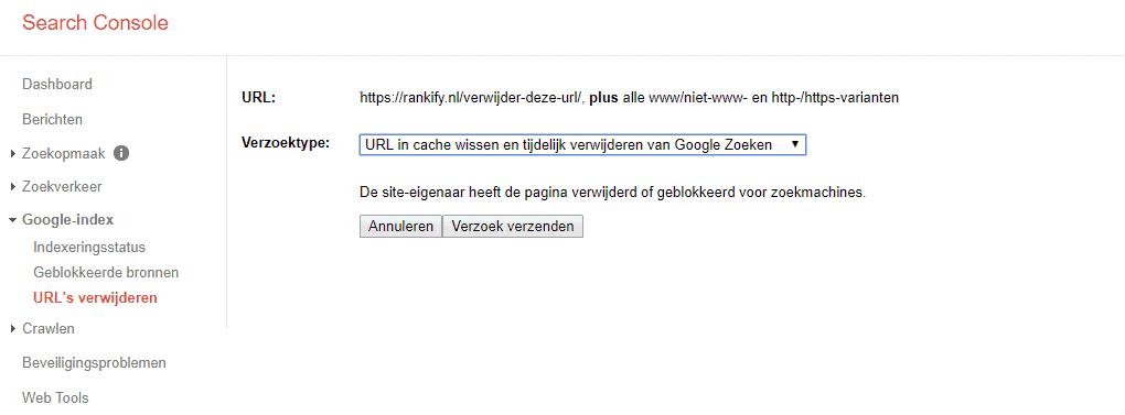 stap 5: verwijder URL uit Google zoekresultaten